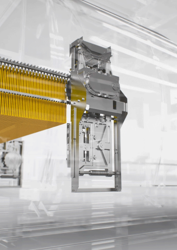 3D rendering of pasta machine from Bühler, glass and steel